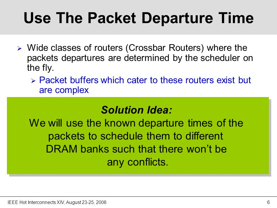 IEEE Hot Interconnects XIV, August 23-25, 200617 Number of DRAM banks  Departure Read Conflicts: P P P P P P Any packet that is written in the current frame f, it will eventually need to be read in a future frame d for departure.