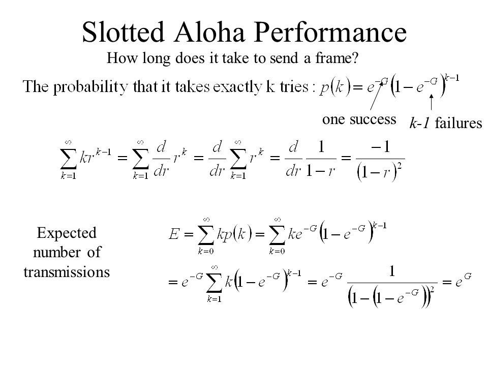 Slotted Aloha Performance How long does it take to send a frame.