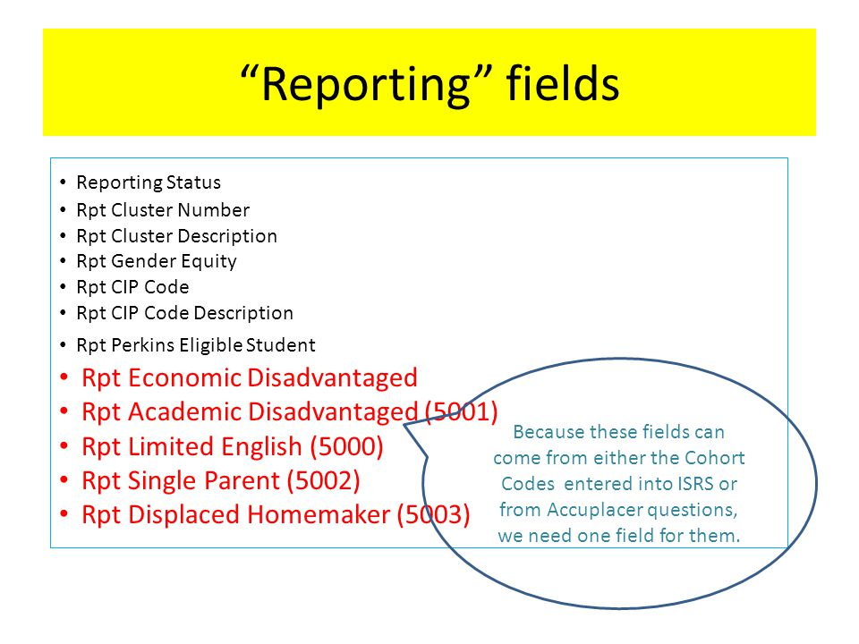Reporting fields Reporting Status Rpt Cluster Number Rpt Cluster Description Rpt Gender Equity Rpt CIP Code Rpt CIP Code Description Rpt Perkins Eligible Student Rpt Economic Disadvantaged Rpt Academic Disadvantaged (5001) Rpt Limited English (5000) Rpt Single Parent (5002) Rpt Displaced Homemaker (5003) Because these fields can come from either the Cohort Codes entered into ISRS or from Accuplacer questions, we need one field for them.