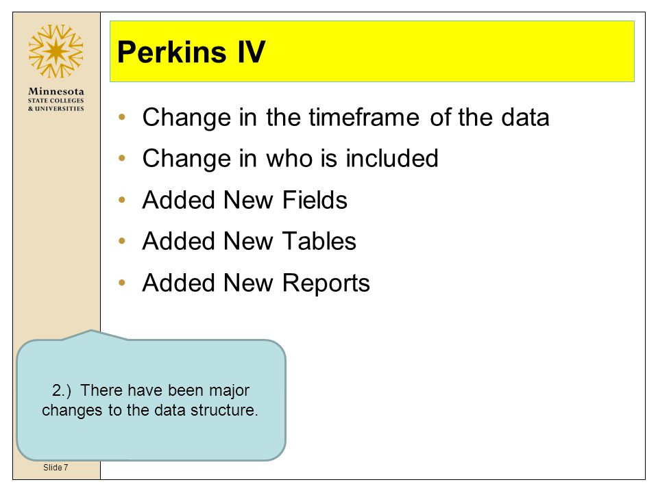Slide 7 Perkins IV Change in the timeframe of the data Change in who is included Added New Fields Added New Tables Added New Reports 2.) There have been major changes to the data structure.