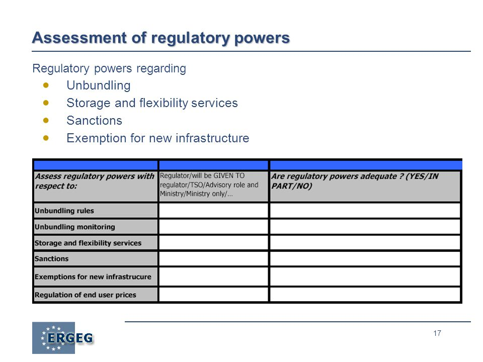 17 Assessment of regulatory powers Regulatory powers regarding  Unbundling  Storage and flexibility services  Sanctions  Exemption for new infrastructure