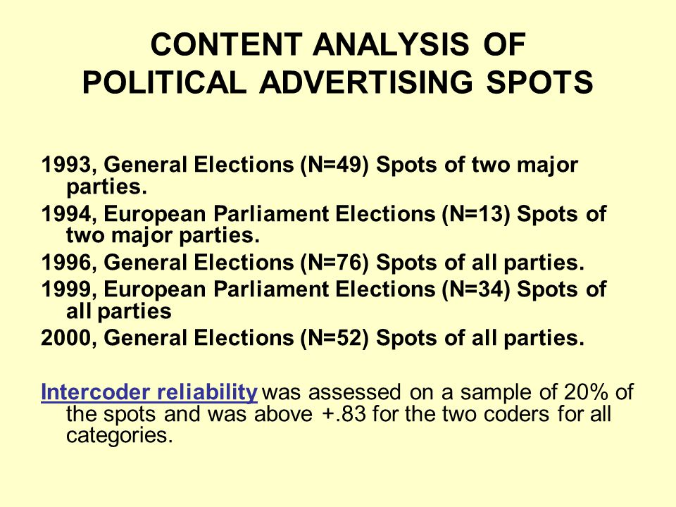 CONTENT ANALYSIS OF POLITICAL ADVERTISING SPOTS 1993, General Elections (N=49) Spots of two major parties.