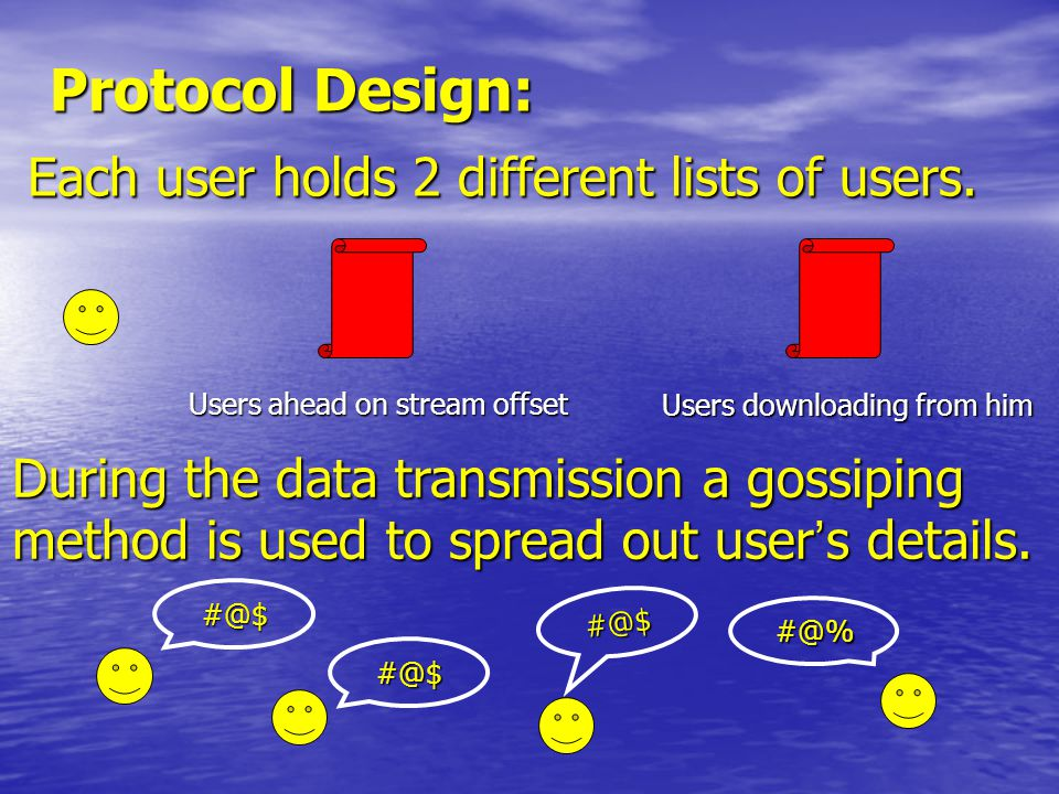 Protocol Design: Each user holds 2 different lists of users.
