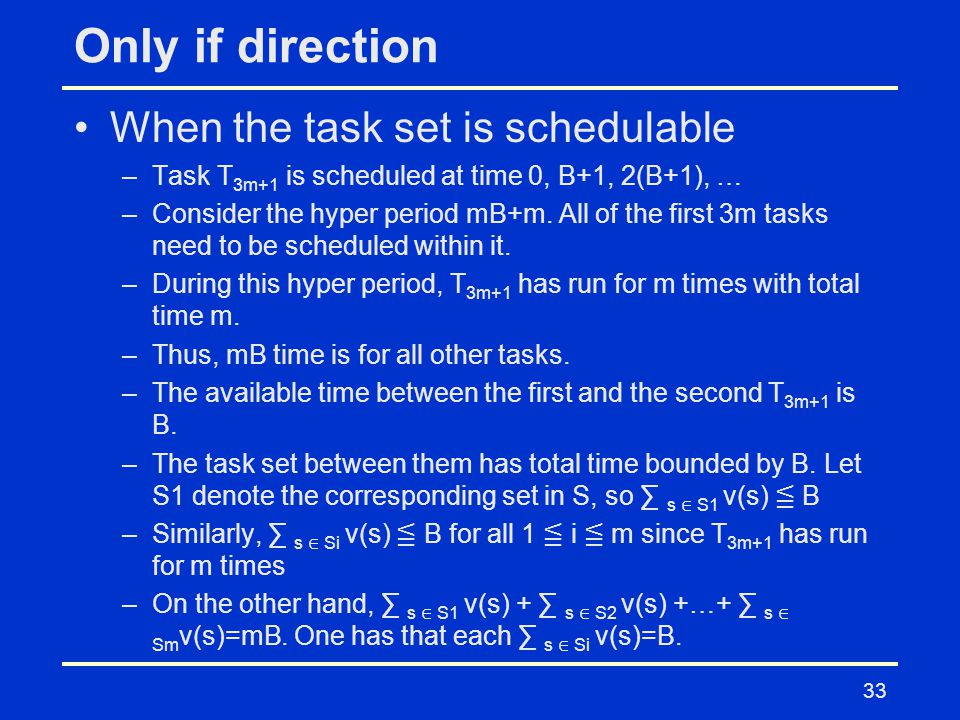 Only if direction When the task set is schedulable –Task T 3m+1 is scheduled at time 0, B+1, 2(B+1), … –Consider the hyper period mB+m.