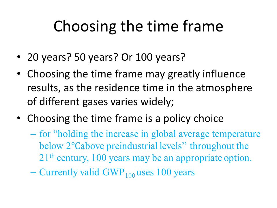 Choosing the time frame 20 years. 50 years. Or 100 years.
