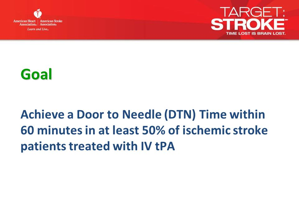 Goal Achieve a Door to Needle (DTN) Time within 60 minutes in at least 50% of ischemic stroke patients treated with IV tPA
