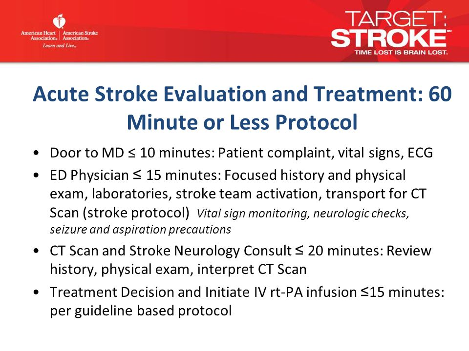 Acute Stroke Evaluation and Treatment: 60 Minute or Less Protocol Door to MD ≤ 10 minutes: Patient complaint, vital signs, ECG ED Physician ≤ 15 minutes: Focused history and physical exam, laboratories, stroke team activation, transport for CT Scan (stroke protocol) Vital sign monitoring, neurologic checks, seizure and aspiration precautions CT Scan and Stroke Neurology Consult ≤ 20 minutes: Review history, physical exam, interpret CT Scan Treatment Decision and Initiate IV rt-PA infusion ≤ 15 minutes: per guideline based protocol
