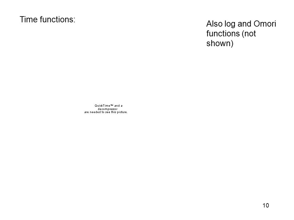 10 Time functions: Also log and Omori functions (not shown)