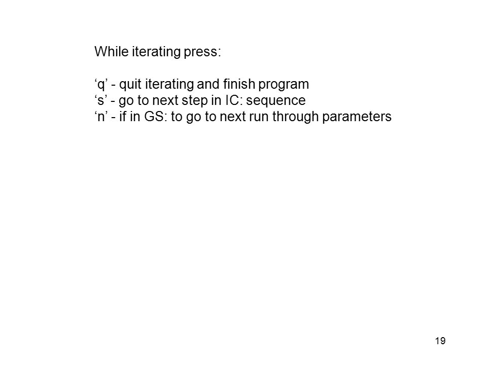 19 While iterating press: 'q' - quit iterating and finish program 's' - go to next step in IC: sequence 'n' - if in GS: to go to next run through para