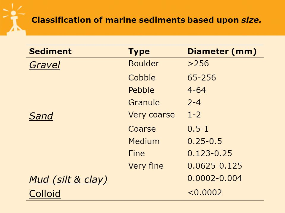 Classification of marine sediments based upon size.