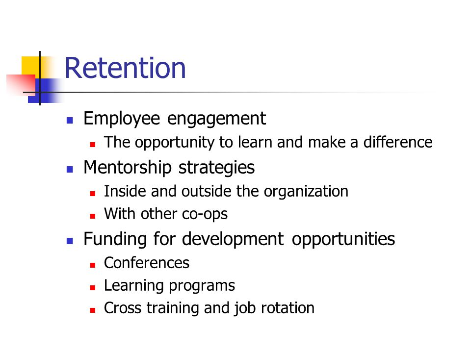 Retention Employee engagement The opportunity to learn and make a difference Mentorship strategies Inside and outside the organization With other co-ops Funding for development opportunities Conferences Learning programs Cross training and job rotation