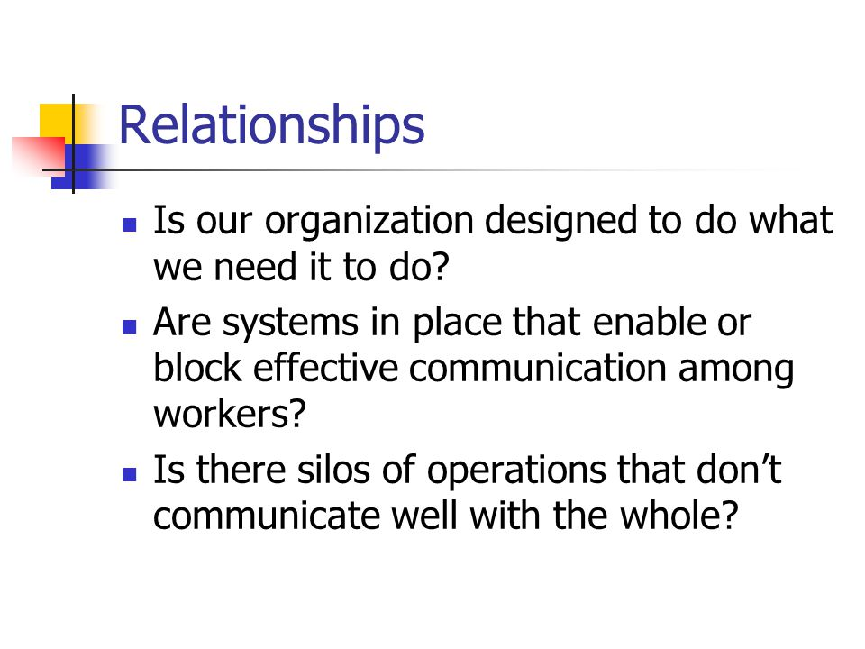 Relationships Is our organization designed to do what we need it to do.