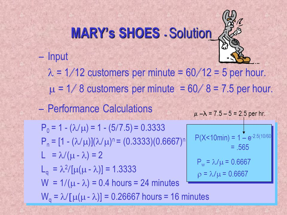37 MARY's SHOES - Solution –Input = 1 / 12 customers per minute = 60 / 12 = 5 per hour.  = 1 / 8 customers per minute = 60 / 8 = 7.5 per hour. –Perf
