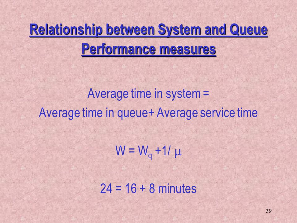 39 Relationship between System and Queue Performance measures Average time in system = Average time in queue+ Average service time W = W q +1/  24 =