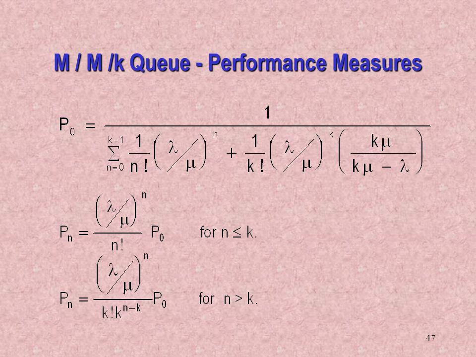 47 M / M /k Queue - Performance Measures