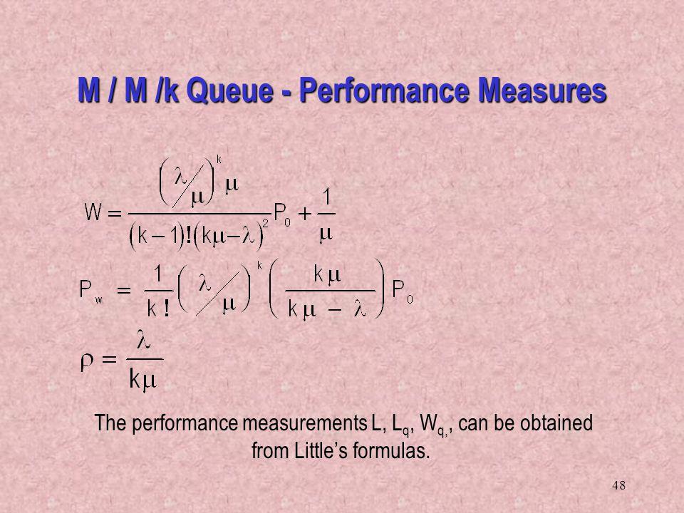 48 The performance measurements L, L q, W q,, can be obtained from Little's formulas. M / M /k Queue - Performance Measures