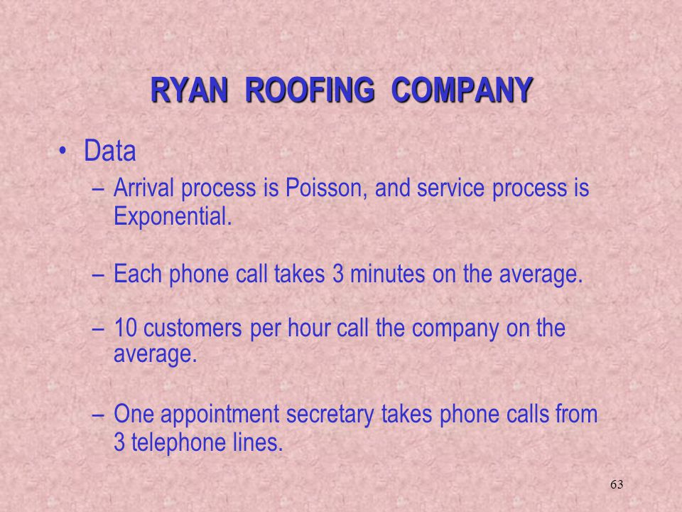 63 Data –Arrival process is Poisson, and service process is Exponential. –Each phone call takes 3 minutes on the average. –10 customers per hour call