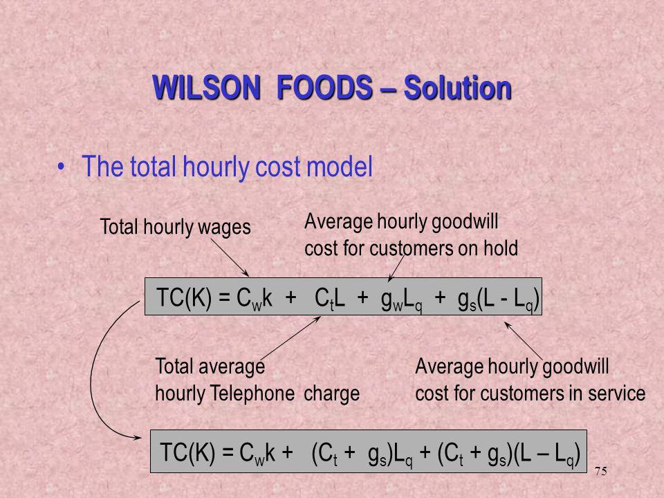 75 TC(K) = C w k + (C t + g s )L q + (C t + g s )(L – L q ) WILSON FOODS – Solution The total hourly cost model TC(K) = C w k + C t L + g w L q + g s