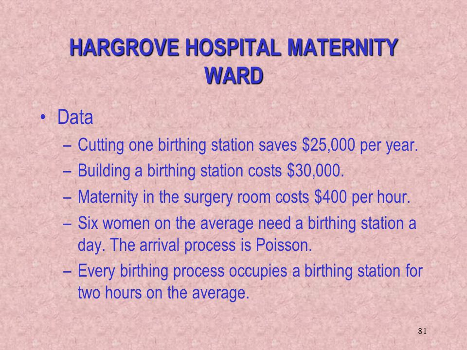 81 HARGROVE HOSPITAL MATERNITY WARD Data –Cutting one birthing station saves $25,000 per year. –Building a birthing station costs $30,000. –Maternity
