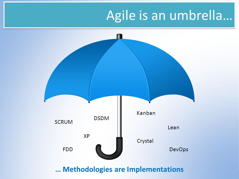 Agile is an umbrella… SCRUM FDD Lean Crystal DSDM XP … Methodologies are Implementations Kanban DevOps