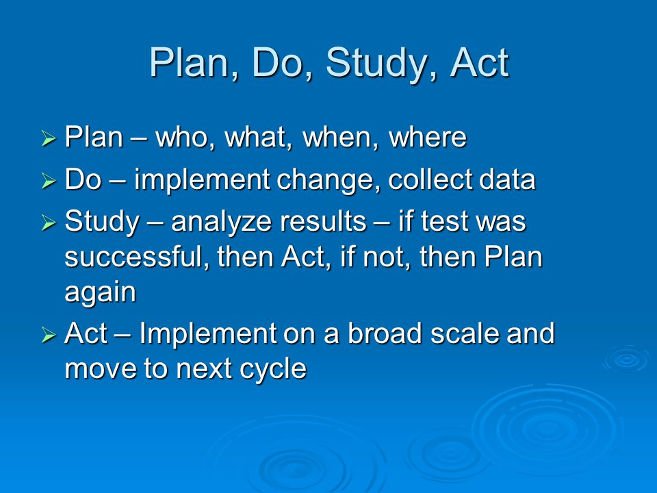 PDSA Cycle Ideas Changes That Result in Improvement AP SD A P S D AP SD D S P A DATA Small Scale Test Follow-up Tests Wide-Scale Tests Implementation of Change