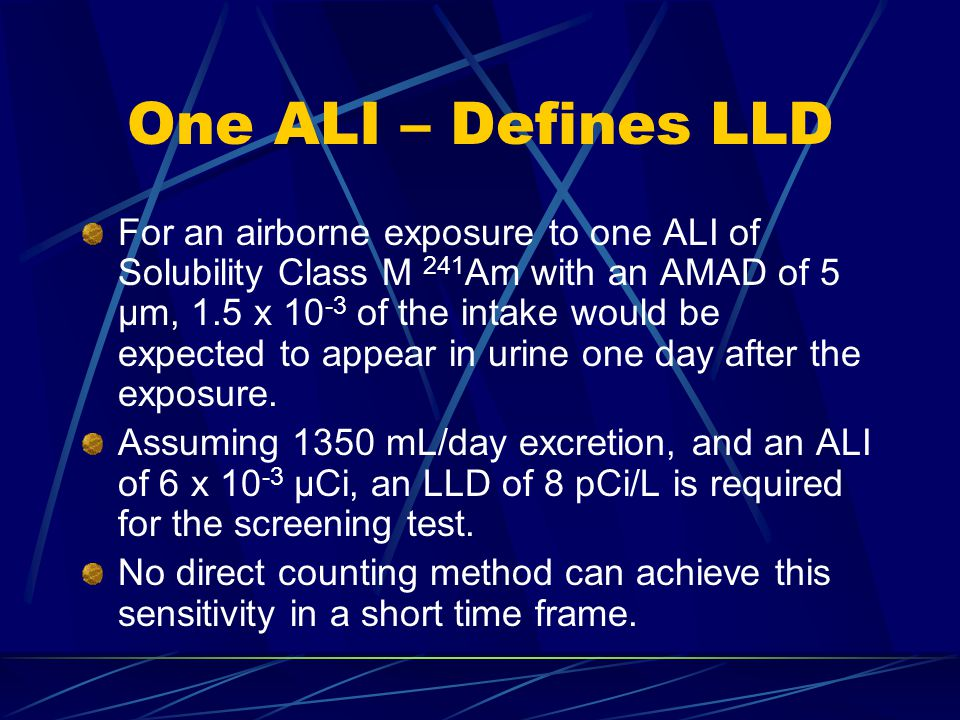 One ALI – Defines LLD For an airborne exposure to one ALI of Solubility Class M 241 Am with an AMAD of 5 μm, 1.5 x 10 -3 of the intake would be expected to appear in urine one day after the exposure.