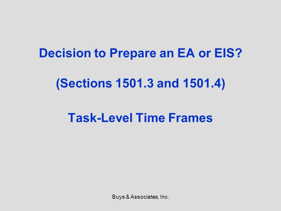 Buys & Associates, Inc. Decision to Prepare an EA or EIS.