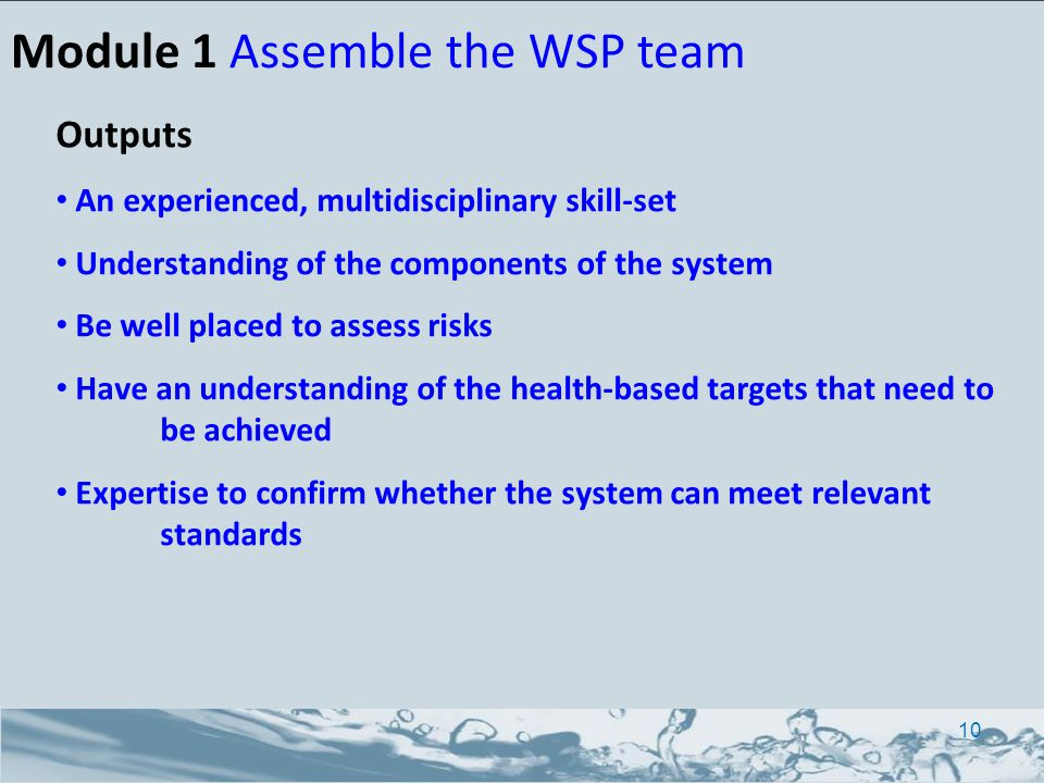Module 1 Assemble the WSP team Outputs An experienced, multidisciplinary skill-set Understanding of the components of the system Be well placed to assess risks Have an understanding of the health-based targets that need to be achieved Expertise to confirm whether the system can meet relevant standards 10