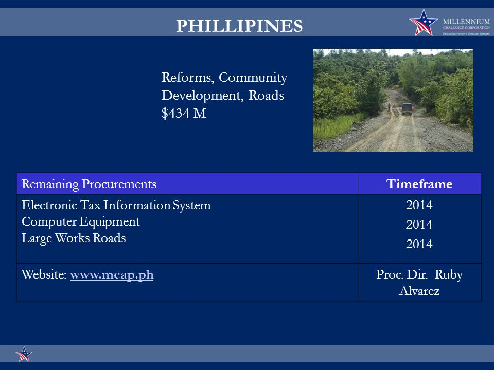 Remaining ProcurementsTimeframe Electronic Tax Information System Computer Equipment Large Works Roads 2014 Website: www.mcap.phwww.mcap.phProc.