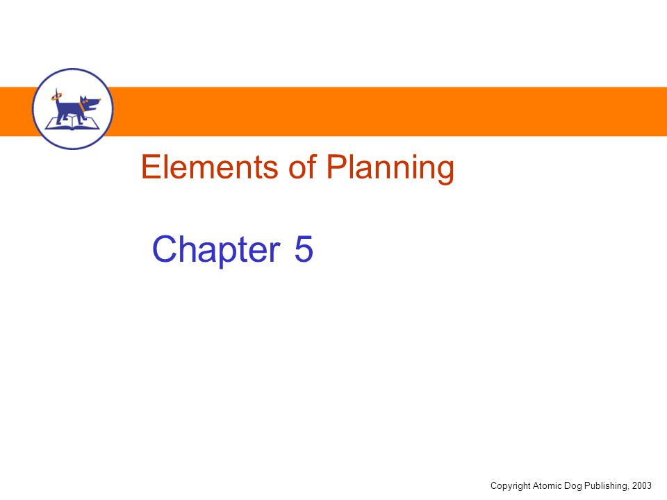 Copyright Atomic Dog Publishing, 2003 Elements of Planning Chapter 5