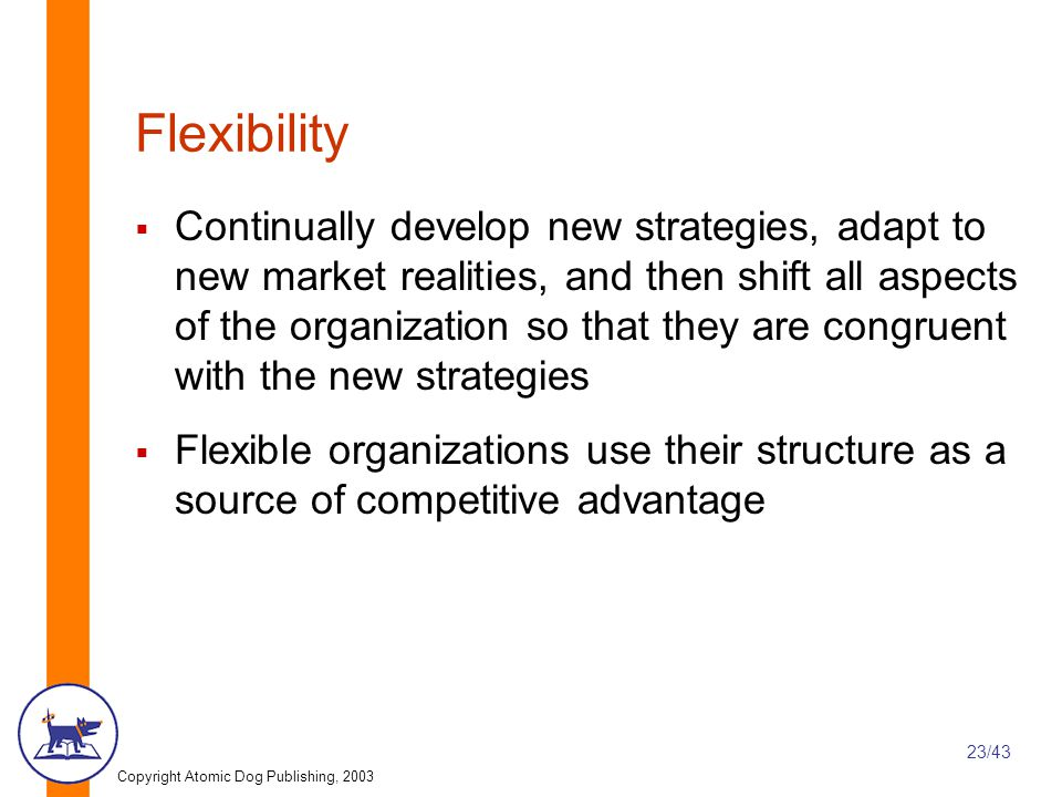 Copyright Atomic Dog Publishing, 2003 23/43 Flexibility  Continually develop new strategies, adapt to new market realities, and then shift all aspects of the organization so that they are congruent with the new strategies  Flexible organizations use their structure as a source of competitive advantage
