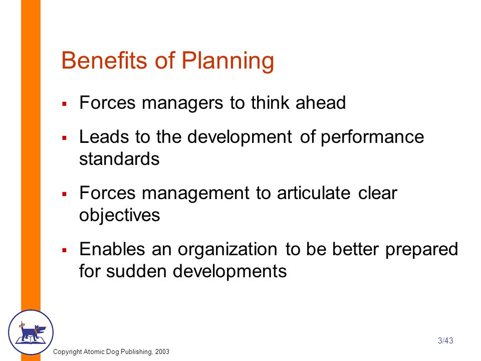 Copyright Atomic Dog Publishing, 2003 3/43 Benefits of Planning  Forces managers to think ahead  Leads to the development of performance standards  Forces management to articulate clear objectives  Enables an organization to be better prepared for sudden developments