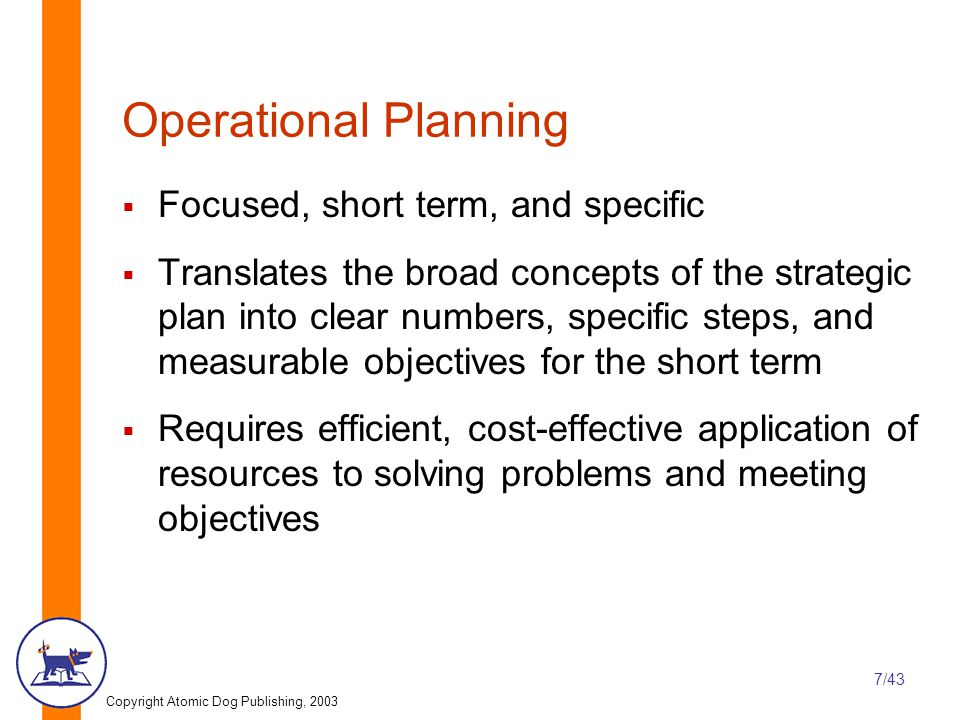 Copyright Atomic Dog Publishing, 2003 7/43 Operational Planning  Focused, short term, and specific  Translates the broad concepts of the strategic plan into clear numbers, specific steps, and measurable objectives for the short term  Requires efficient, cost-effective application of resources to solving problems and meeting objectives
