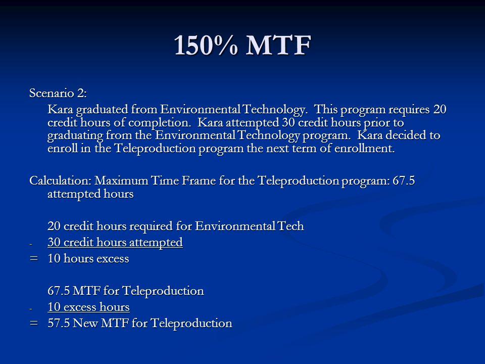 150% MTF Scenario 2: Kara graduated from Environmental Technology.