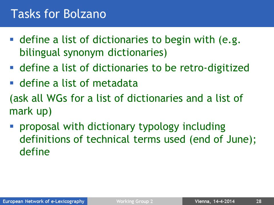 Tasks for Bolzano  define a list of dictionaries to begin with (e.g.