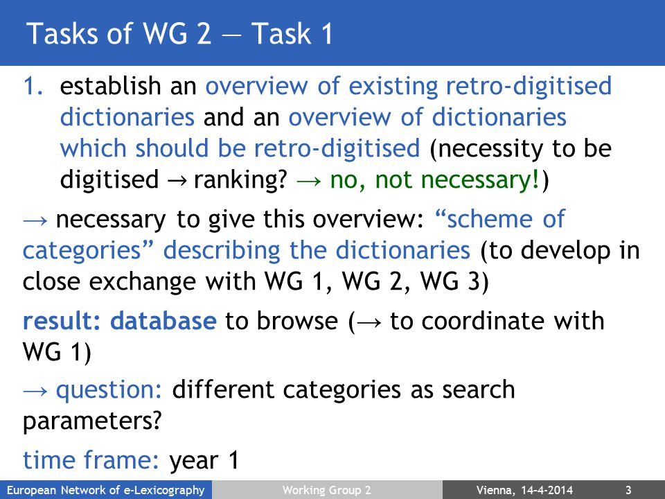Tasks of WG 2 — Task 1 1.establish an overview of existing retro-digitised dictionaries and an overview of dictionaries which should be retro-digitised (necessity to be digitised → ranking.