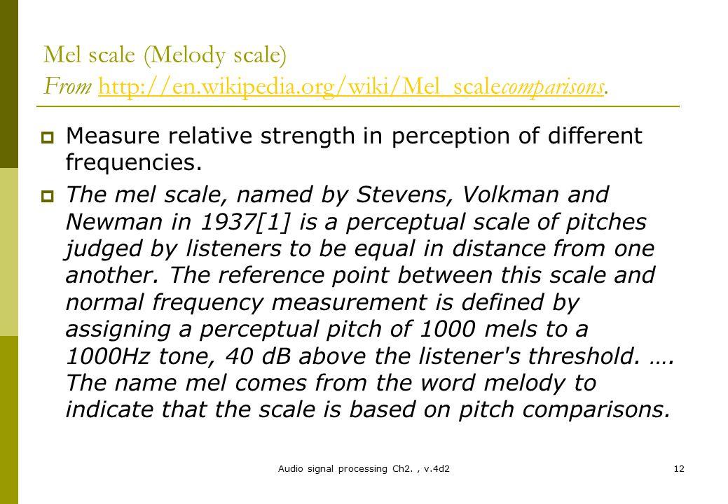 Mel scale (Melody scale) From http://en.wikipedia.org/wiki/Mel_scalecomparisons.http://en.wikipedia.org/wiki/Mel_scalecomparisons  Measure relative s