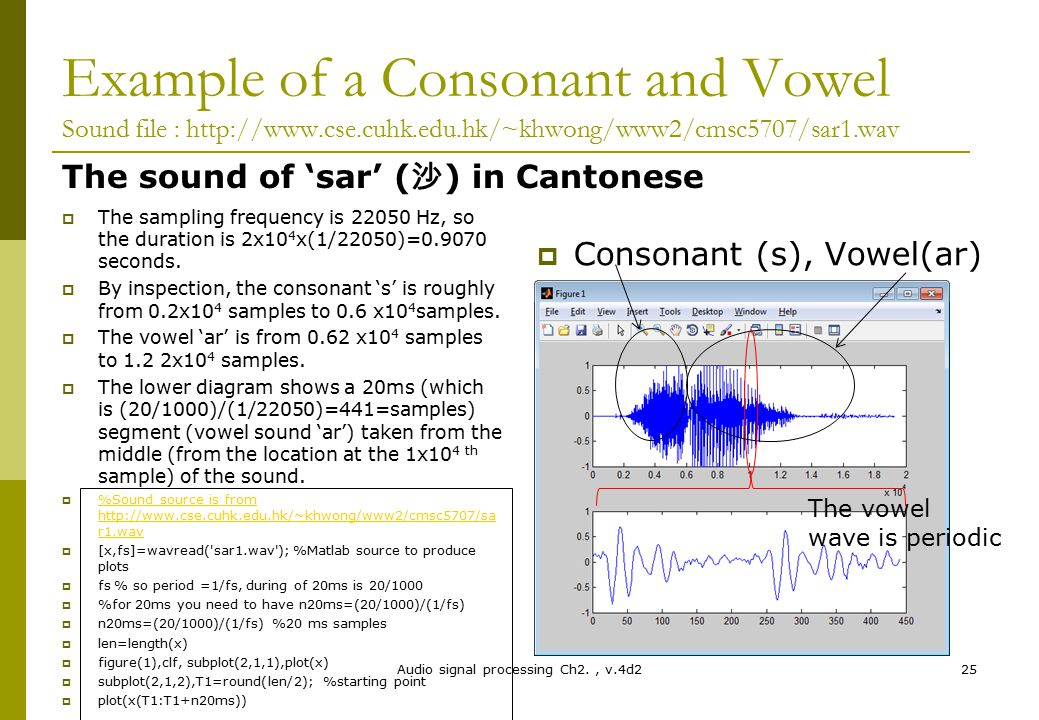 Example of a Consonant and Vowel Sound file : http://www.cse.cuhk.edu.hk/~khwong/www2/cmsc5707/sar1.wav The sound of 'sar' ( 沙 ) in Cantonese  The sa