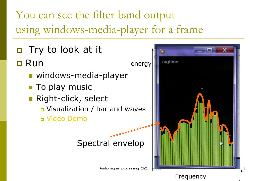 Audio signal processing Ch2., v.4d23 You can see the filter band output using windows-media-player for a frame  Try to look at it  Run windows-media
