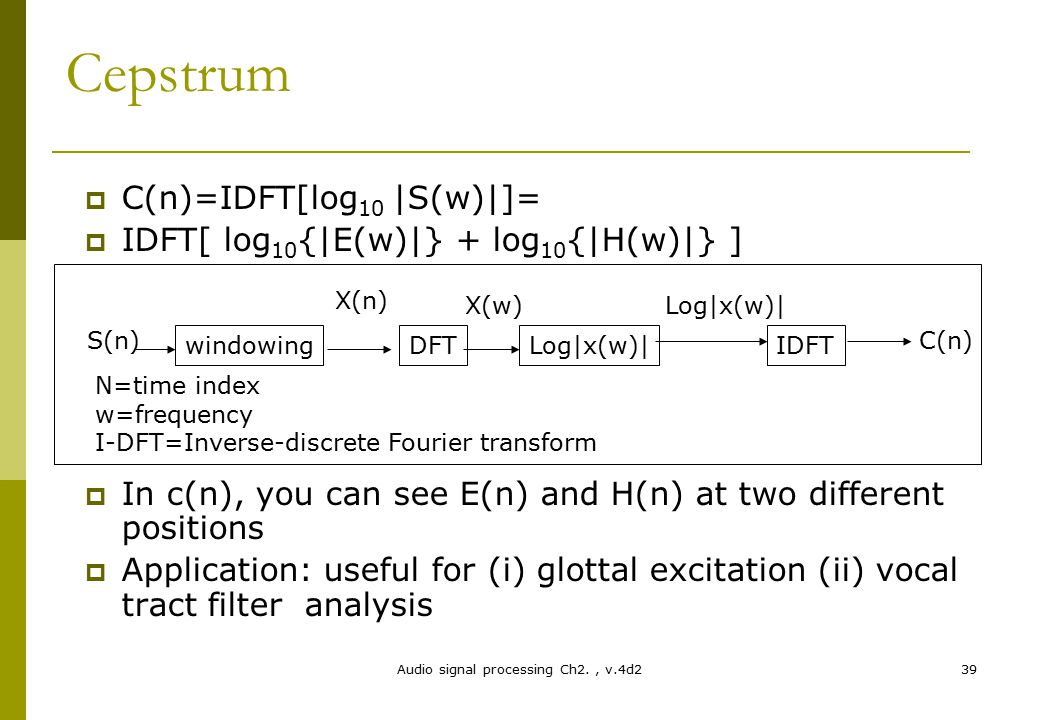 Audio signal processing Ch2., v.4d239 Cepstrum  C(n)=IDFT[log 10 |S(w)|]=  IDFT[ log 10 {|E(w)|} + log 10 {|H(w)|} ]  In c(n), you can see E(n) and