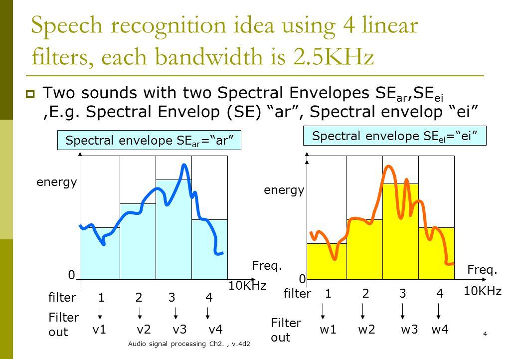 "Audio signal processing Ch2., v.4d2 4 Spectral envelope SE ar =""ar"" Speech recognition idea using 4 linear filters, each bandwidth is 2.5KHz  Two sou"