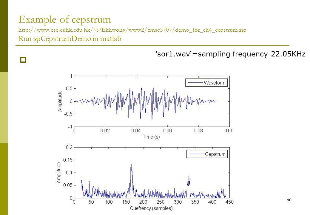 Audio signal processing Ch2., v.4d240 Example of cepstrum http://www.cse.cuhk.edu.hk/%7Ekhwong/www2/cmsc5707/demo_for_ch4_cepstrum.zip Run spCepstrumD