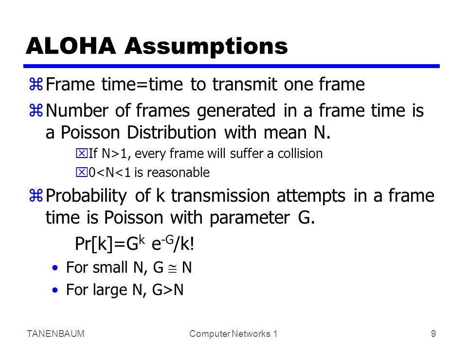 TANENBAUMComputer Networks 19 ALOHA Assumptions zFrame time=time to transmit one frame zNumber of frames generated in a frame time is a Poisson Distribution with mean N.