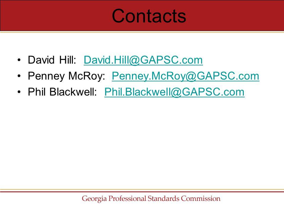 David Hill: David.Hill@GAPSC.comDavid.Hill@GAPSC.com Penney McRoy: Penney.McRoy@GAPSC.comPenney.McRoy@GAPSC.com Phil Blackwell: Phil.Blackwell@GAPSC.comPhil.Blackwell@GAPSC.com Contacts