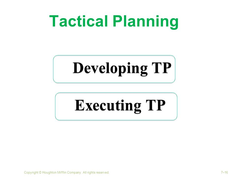 Tactical Planning Copyright © Houghton Mifflin Company. All rights reserved.7–16 Developing TP Executing TP