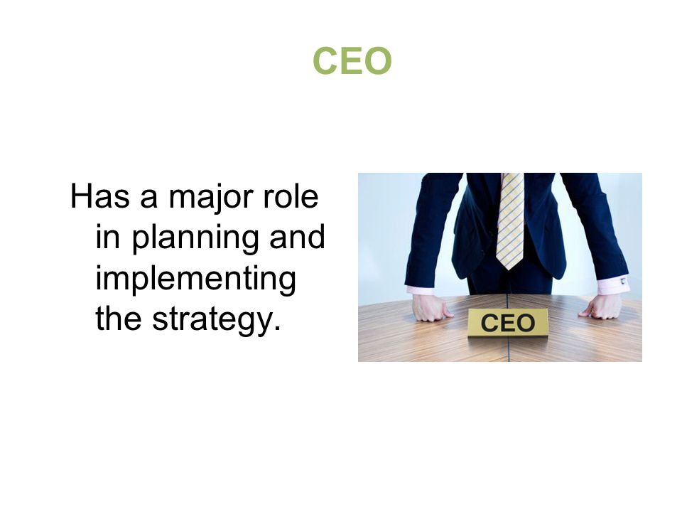 CEO Has a major role in planning and implementing the strategy.
