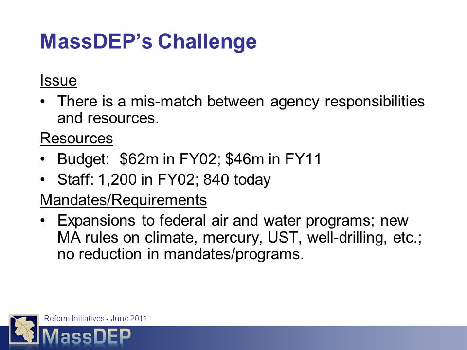 Reform Initiatives - June 2011 MassDEP's Challenge Issue There is a mis-match between agency responsibilities and resources.