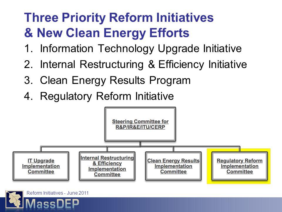 Reform Initiatives - June 2011 Three Priority Reform Initiatives & New Clean Energy Efforts 1.Information Technology Upgrade Initiative 2.Internal Restructuring & Efficiency Initiative 3.Clean Energy Results Program 4.Regulatory Reform Initiative