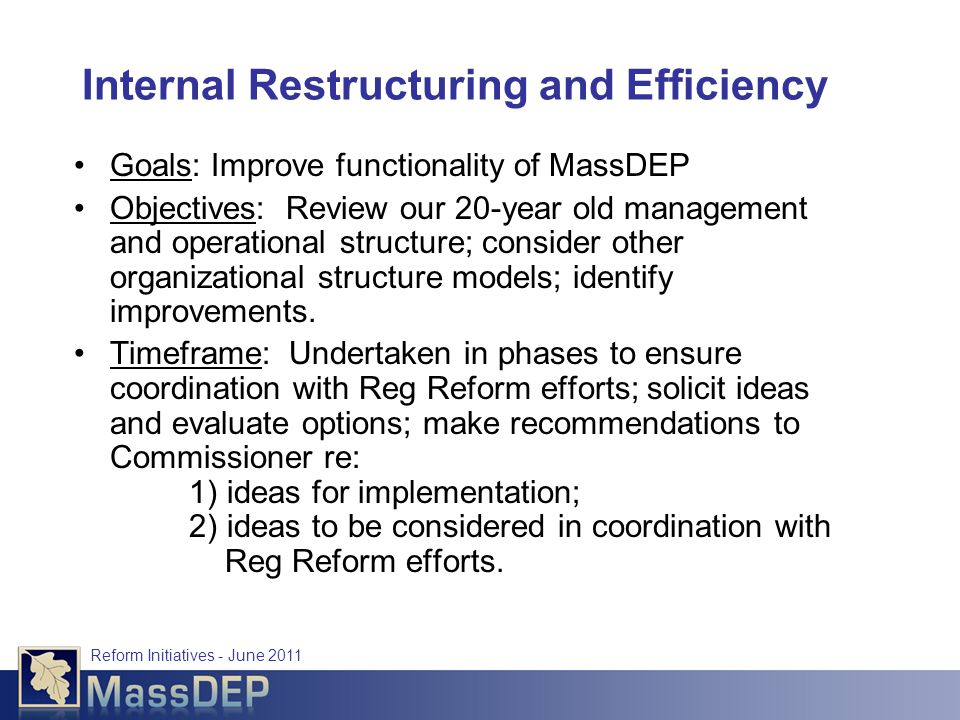 Reform Initiatives - June 2011 Internal Restructuring and Efficiency Goals: Improve functionality of MassDEP Objectives: Review our 20-year old management and operational structure; consider other organizational structure models; identify improvements.