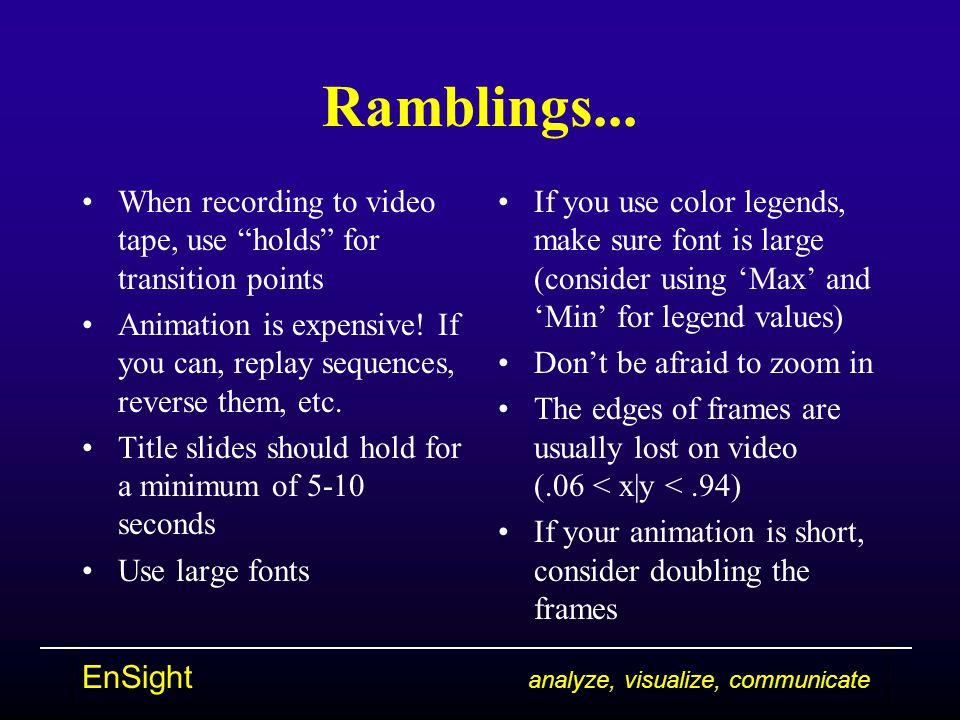 EnSight analyze, visualize, communicate Ramblings...